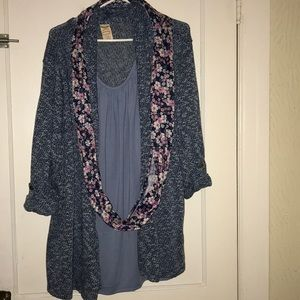 Tops - Sweater, with tank & scarf